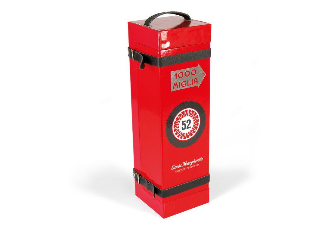"""Box porta bottiglia """"magnum"""" con maniglia e cinturini in pelle"""
