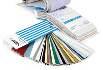 Color charts for fabrics and laminates