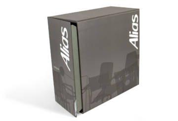 Box porta-dépliant con linguetta in PVC trasparente