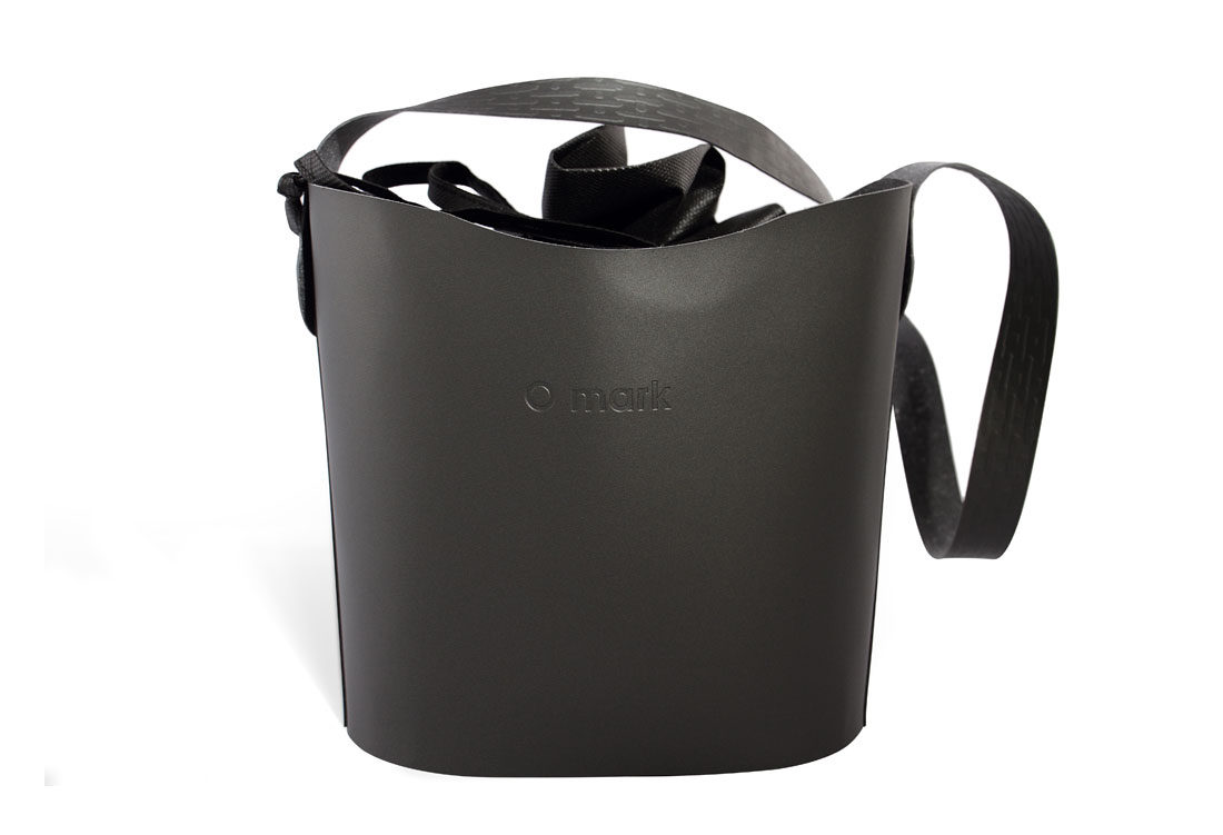 Small bucket made in ecological leather with embossing