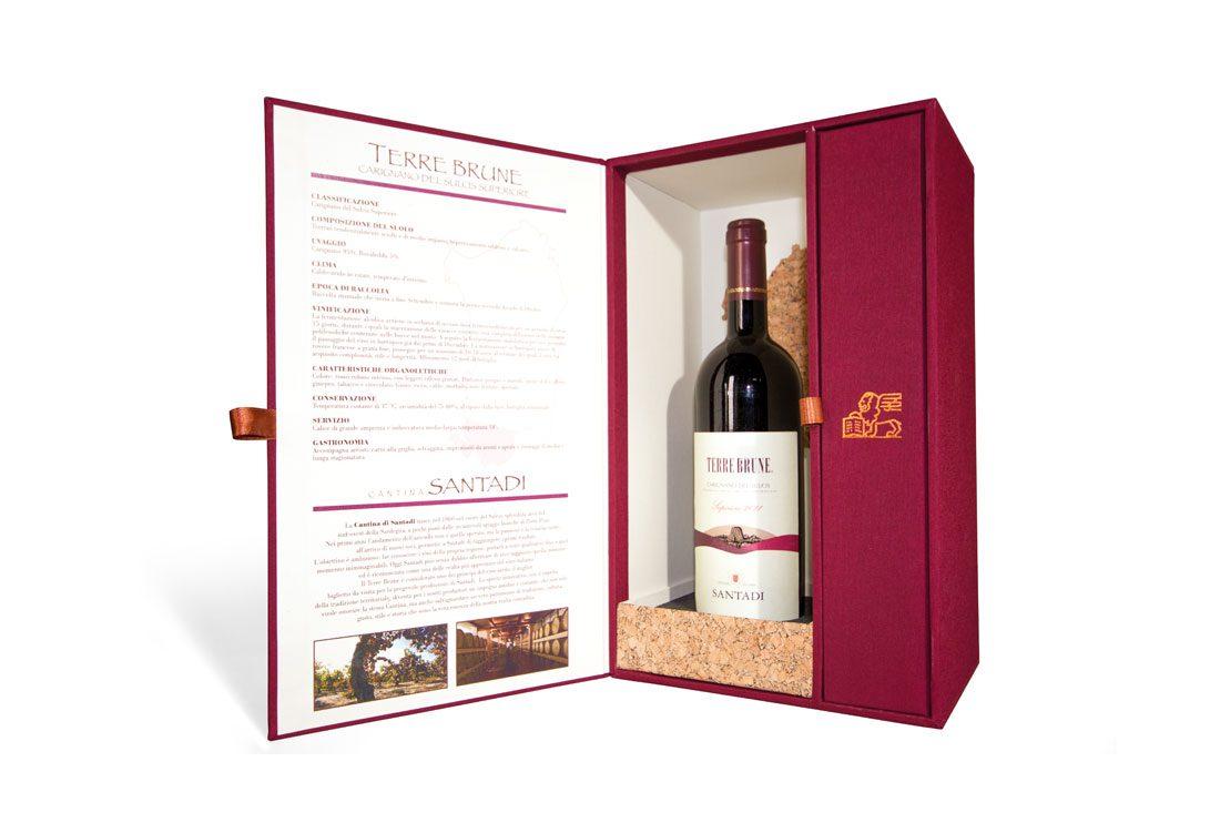 Elegante box per bottiglia di vino in cartone cuoio e sughero
