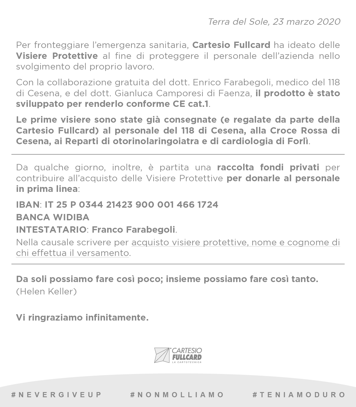 Newsletter COVID-19_raccolta fondi