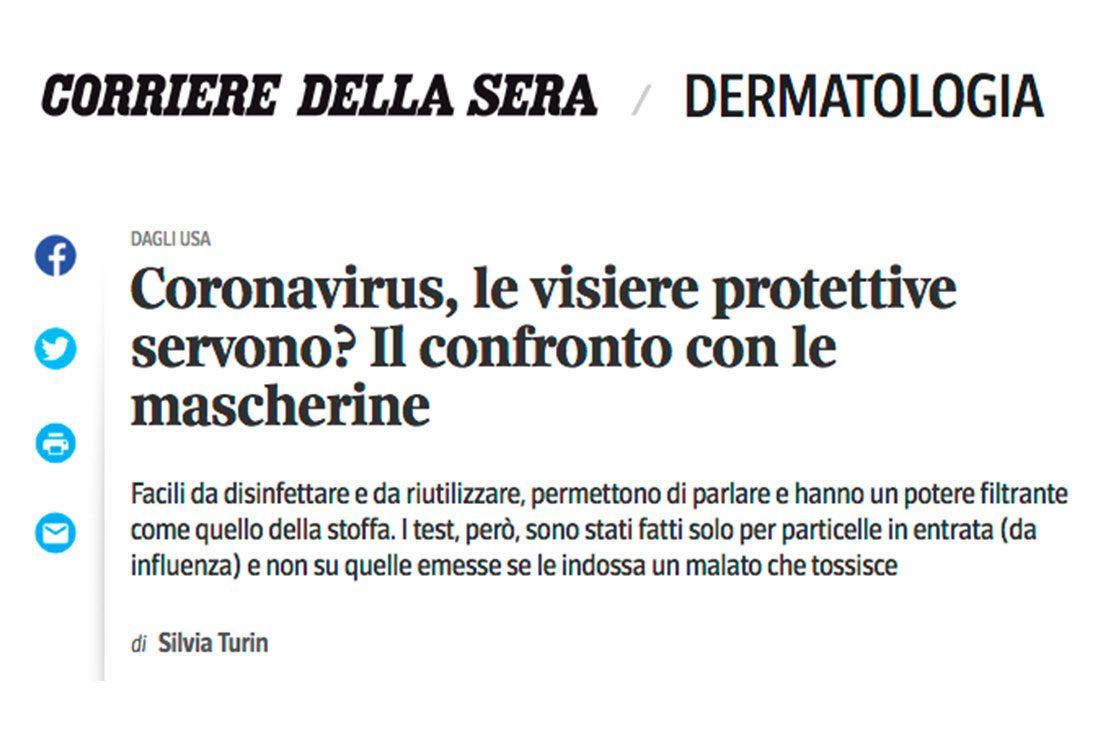 Visiere protettive: il confronto con le mascherine (articolo del Corriere della Sera)
